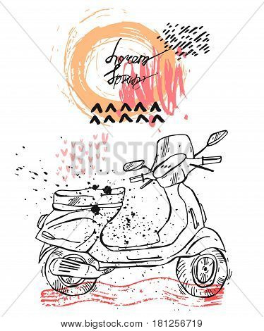 Hand drawn vector card template with retro moped.Retro style transport, vintage looking moped.Vector outdoor print for card or poster design for traveller, traveling, summer tourism.Vintage scooter.