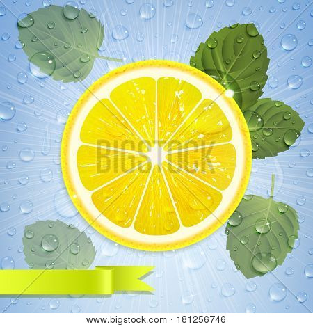 refreshing lemonade with lemon mint leaves and water drops
