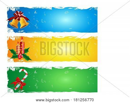3 different color of merry Christmas banner