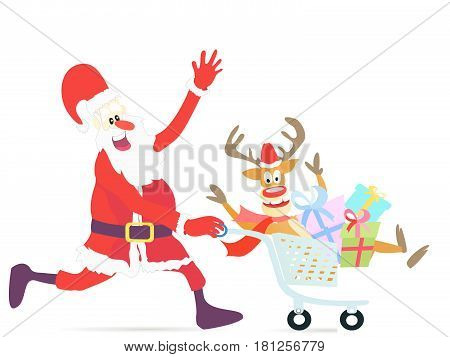 Happy Santa Claus running shopping cart with deer
