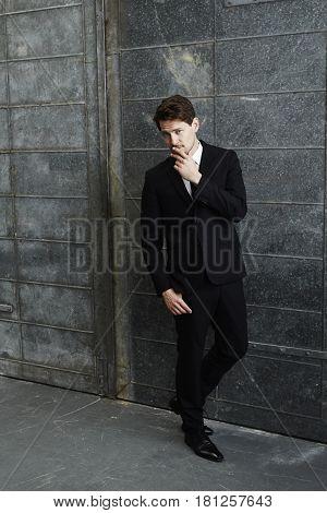 Sharp dressed for succes  businessman portrait studio shot
