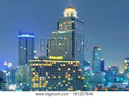 Bokeh of buildings in Bangkok city Thailand