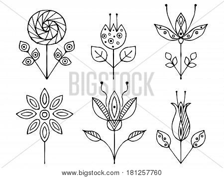 Set Of Vector Hand Drawn Decorative Stylized Black And White Childish Flowers. Doodle Style, Graphic