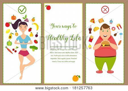 Banners with healthy food and fast food. Illustration of the fit girl and overweight man