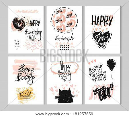 Hand drawn vector abstract textured Happy Birthday fun cards template collection with place for your greeting text.Design for Birthday background, Happy birthday banner, greeting card template.