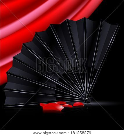 dark background, red drape and the black fan with red petals
