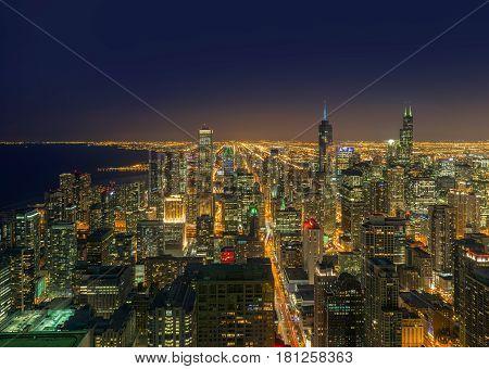 Chicago City at night, Chicago illinois USA