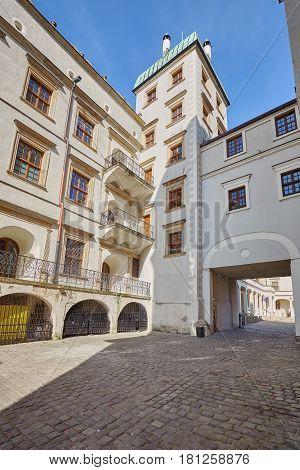 Wide Angle Picture Of The Pomeranian Dukes Castle In Szczecin.