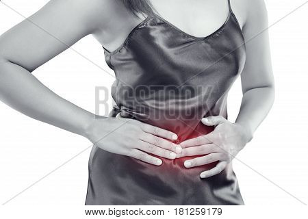 Stomach pain Food poisoning Dyspepsia Negative human emotion expression reaction health issues problems isolate on white background