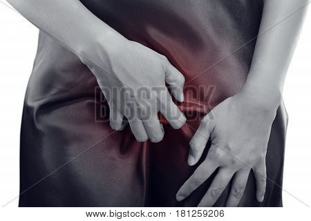 Woman are scratching the vagina itching crotch Healthcare and medicine Beautiful girl with body problem concept