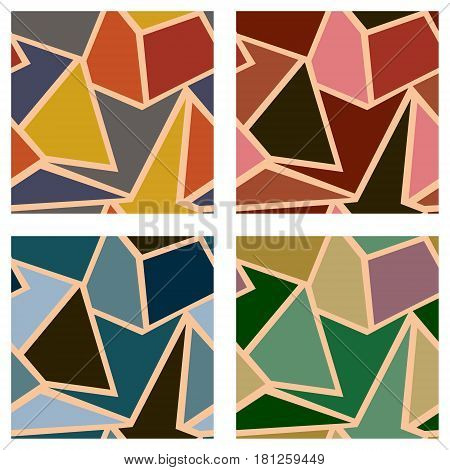 Set Of Seamless Vector Geometric Patterns. Background With Triangles In Pastel Beige And Brown Color