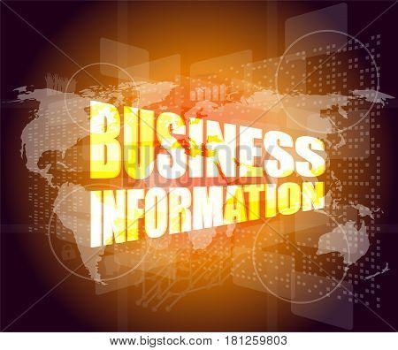 Business Information On Digital Touch Screen, 3D