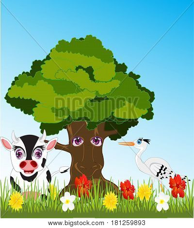 Big tree and glade with animal and bird