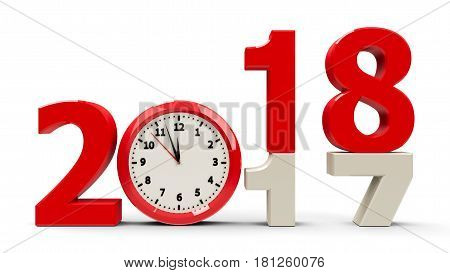 2017-2018 change with clock dial represents coming new year 2018 three-dimensional rendering 3D illustration