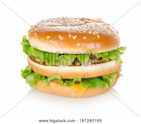 Fast Food. Cheeseburger isolated on white background