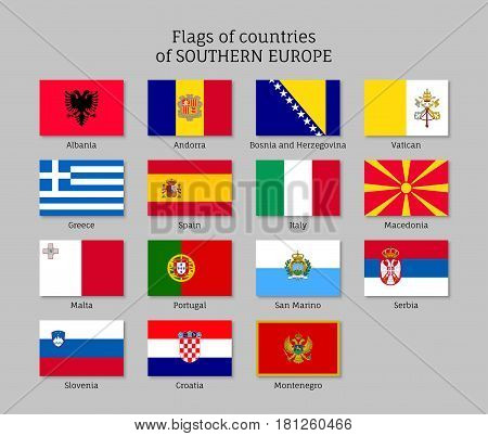 Set of flat flags of Southern Europe countries: Greece, Italy and Spain, Albania and Andorra. 15 ensigns on flagpole of European states. Vector icons collection on gray background.