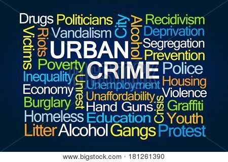 Urban Crime Word Cloud on Blue Background
