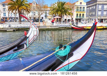 Typical Traditional Boats Moliceiro In Vouga River. Aveiro