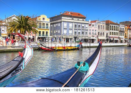 Aveiro, Portugal - March 21, 2017: Traditional Boats In Vouga River, Aveiro, Portugal