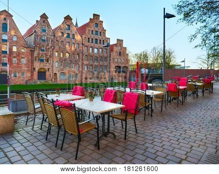 Summer Restaurant At Trave River In The Old Town Lubeck
