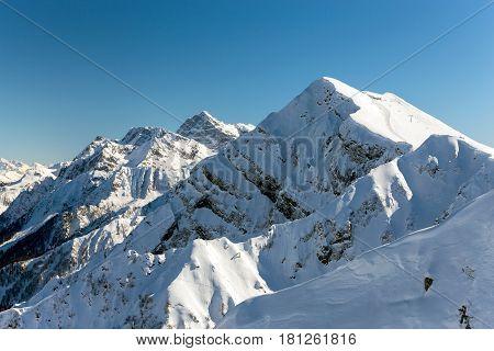Aibga Ridge. Mountain Kamennyy stolb. 2509m. Mountains near the ski resort of Rosa Khutor in Krasnaya Polyana. Sochi, Russia