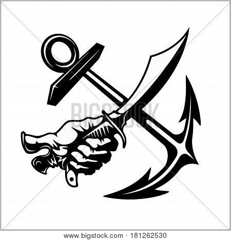 Vector illustration pirate emblem with crossed siber anchor. Sea robbers emblem.