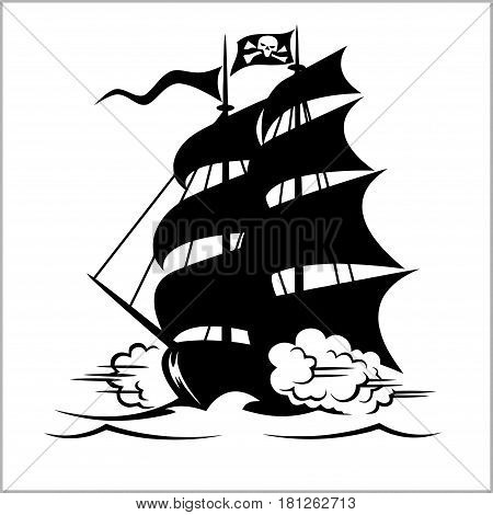 Pirate Ship, galleon, brigantine and cutter under the Jolly Roger black flag, Age of Discovery sailing vessels vector illustration