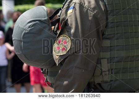 Chevron on the shoulder of a fighter of the National Guard of Ukraine