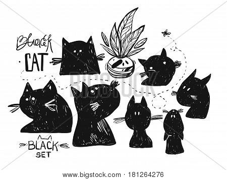 Hand drawn vector doodle sketched silhouette of black cat.Cards set collection isolated on white background.Design elements for home decorsignhalloween backgroundgreeting cardsposterlogo
