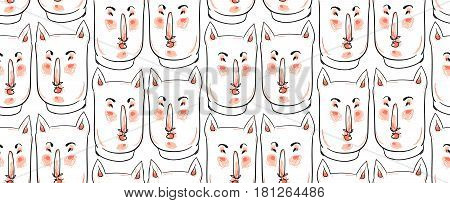 Hand drawn vector seamless pattern of cats fase illustration in pastel colors on white background.Cute animal Character illustration.