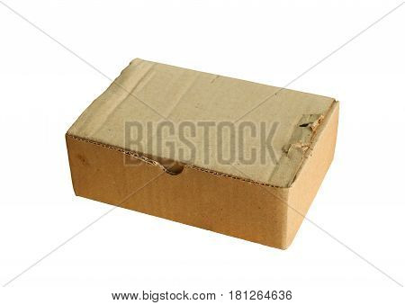 Brown paper box isolated on white background