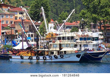 ISTANBUL - CIRCA JUNE 2015 - Seine boat with fishing net onboard ready to put out