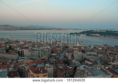 Marina view with boars and sunset in Istanbul