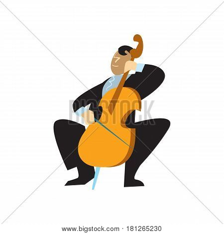 Musician playing cello vector illustration isolated on white background. Classical music orchestra artist with music instrument in flat design.