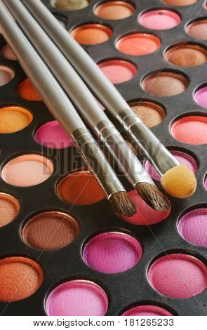 Three Brushes on the palette of eye shadows