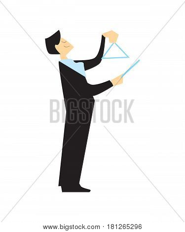 Musician playing musical triangle vector illustration isolated on white background. Classical music orchestra artist with music instrument in flat design.