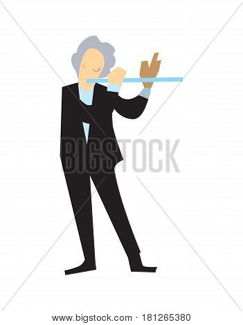 Musician playing flute vector illustration isolated on white background. Classical music orchestra artist with music instrument in flat design.