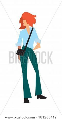 Elegant fashion girl in pants and shirt vector illustration isolated on white background. Pretty young woman, glamour model in flat design.