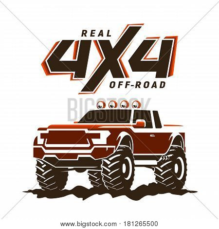 Off-road monster truck pickup. 4x4 logo. Suv sign on white. Vector illustration