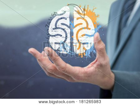 Digital composite of phichology of brain on the hand