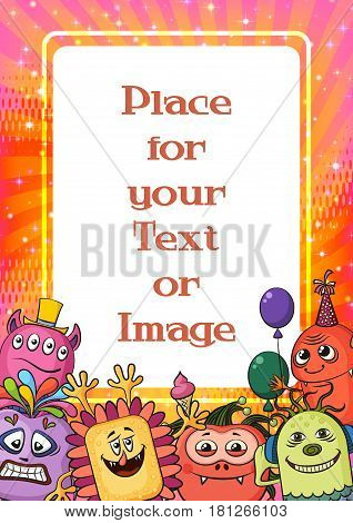 Background for Your Holiday Party Design with Different Cartoon Monsters, Colorful Illustration with Cute Funny Characters and Empty Place for Text or Image. Eps10, Contains Transparencies. Vector