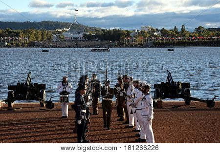 Canberra Australia - Mar 18 2017. Australian Federation Guard conduct small arms at Gallipoli Reach. AFG is a ceremonial unit made up from the Royal Australian Navy Army and Air Force.