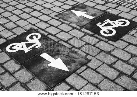 Bicycle Lane, Road Marking With Arrows And Bike Icons