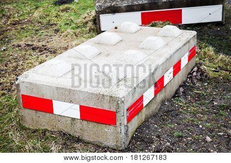 Concrete Road Blocks, Close Up Photo