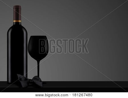 horizontal front view of photo based 3d illustration with black no label wine bottle with closed cap and bow tie on dark background