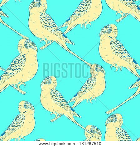 Seamless Pattern Yellow Face Blue Wavy Parrot. Vector Illustration