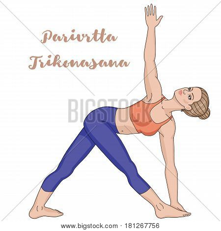 Women silhouette. Revolved Triangle Yoga Pose. Parivrtta Trikonasana Vector illustration
