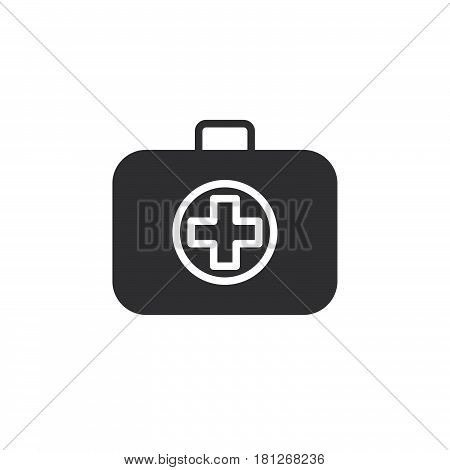 Medical bag icon vector filled flat sign solid pictogram isolated on white. First aid kit symbol logo illustration. Pixel perfect