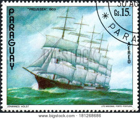 UKRAINE - CIRCA 2017: A postage stamp printed in Paraguai shows ship Prussia 1903 from the series Ship painting circa 1976