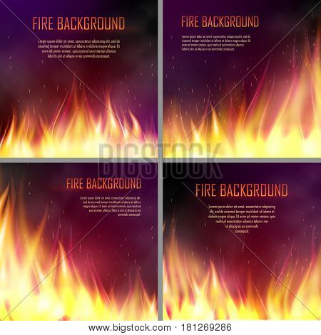 Set of banners with flame effects. Design element with realistic fiery, flaming bonfire, . Vector illustration of fire isolated on black dark background